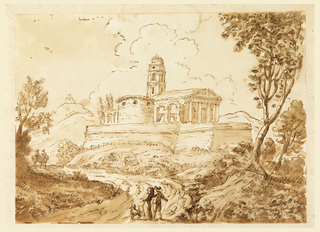 Two figures with a dog stand on a road that winds towards a building on an elevated plain. Building in three parts: a drum-shaped section with round windows, a tower, and a classical building with pediment. Tree at right and two more figures in the distance at left.