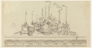 A podium is erected above a pediment bearing seven burning candles. Festoons of garland hand upon it, and two cherubim are in a glory above at center.