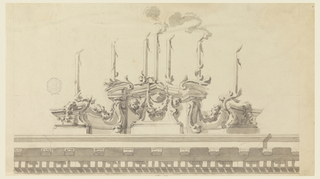 A podium is erected above a pediment bearing seven burning candles. Festoons of garland hand upon it, and two cherubim are in a glory beside central part.
