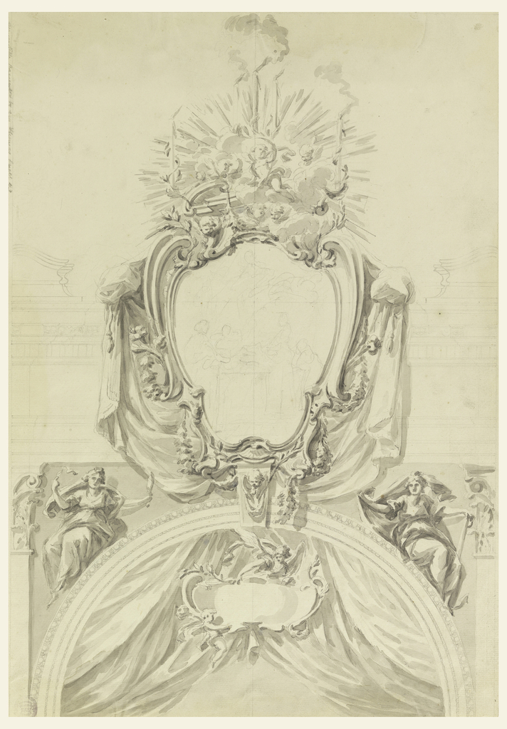"""The upper part of an arch, inside contains an applied escutcheon, supported by two angels. Sitting upon the arch at left, """"Wisdom,"""" at right """"Hope."""" Above, an escutcheon with a sketch representation, perhaps the death of the Virgin. On top are clouds with cherubim and an angel, supporting a branch with three burning candles. Two other candles are supported by branches growing out of the volutes."""