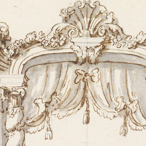 An entryway framed by a pair of columns and pilasters supporting an entablature and the cornice of a pediment. The inner frame with the arch is supported by two twisting solomonic columns, between which is a curtain or baldachino. On top, a shell between two garlands. Dimensions are written in the artist's hand.