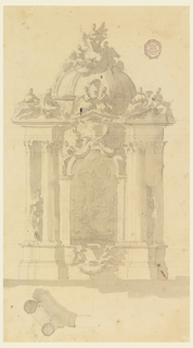 In the scheme of a convex alter retable with a dome. The front shows a representation of an Ascension in an arch.  Inscription escutcheons on top and at the dado. Statues stand laterally and sit upon pediments. An enthroned figure and two angels on top. Left side of the plan underneath.