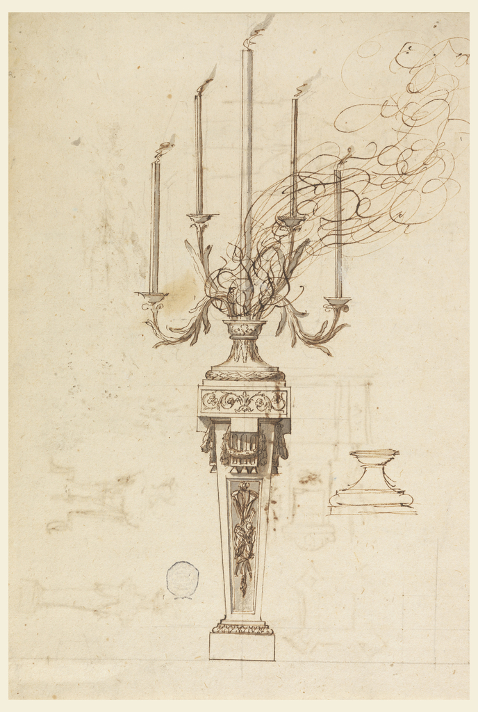 Elevation of a smoking candelabra. Five arms, stepped toward the center. Branches decorated with leaves. Body in the form of a pillar. Detail of a base below.
