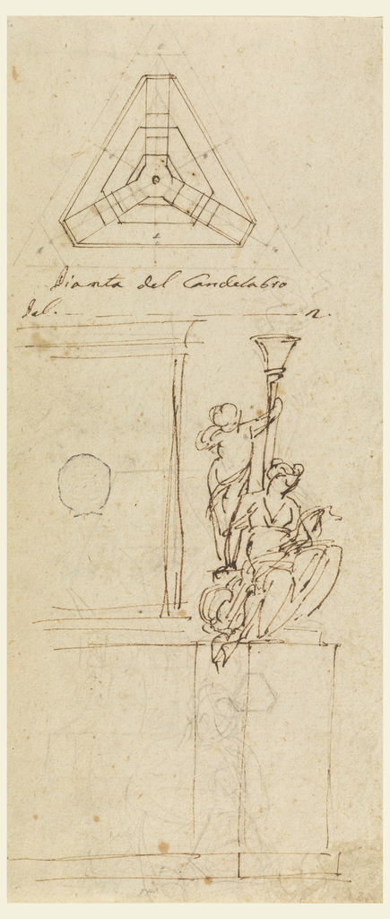 At top, a triangular plan. Below, sketch for figural detail holding one branch.