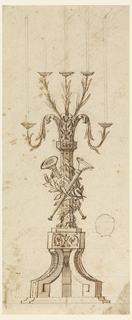 Elevation of a five-armed candelabra. Arms decorated with leaves. At center, a musical trophy.