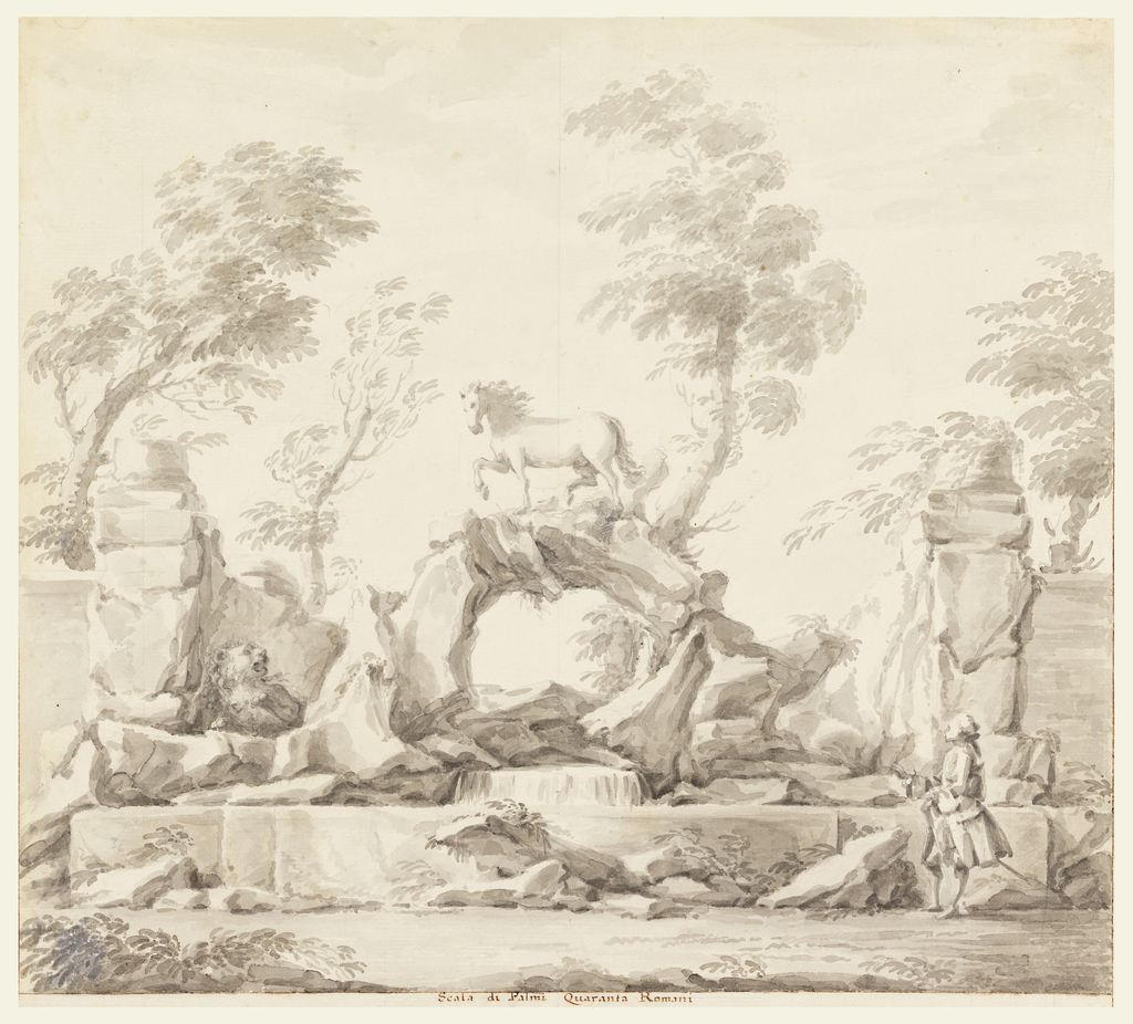 A horse stands on naturalistic rocky arch with a shallow cascading fountain below that is flanked by park-like walls. A lion sits in left middle ground, while a man in lower right foreground looks upward at the arch. There are trees and low vegetation throughout the composition, which is framed by a ruled border of pen and brown ink on three sides.