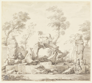 Drawing, Design for a Fountain with Pegasus, for the Villa Albani, Rome