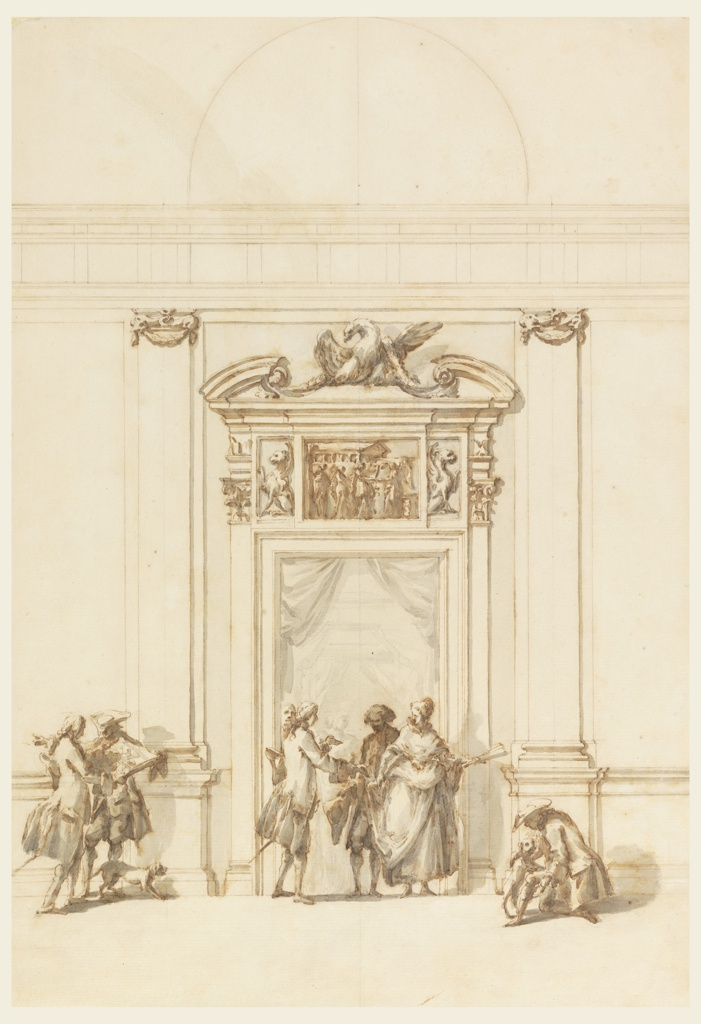 The doorway is flanked by two pilasters with dolphins supporting festoons at capitals. An entablature with a frieze and a semi-circular window above it are outlined at the top of the drawing. Above doorway molding is a classical frieze with a scene of sacrifice. Seated griffins appear on either side of the frieze. Above this is a lower entablature surmounted by an eagle. Several people and two dogs stand in and around the doorway.