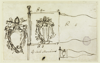 A sketch for the escutcheon, for the shape of the whole pennon and for its rectangular part bearing the coat of arms, with the upper part of the bar and the indication of its length and of the triangular part.