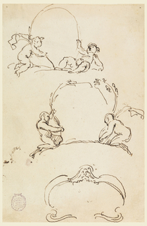 Two sketches show two boys, respectively, with two fauns and trees. One with a mask on top and scrolls.