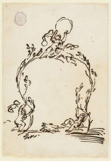 Two trees being held up by two putti with a third one at the top forming an arch.