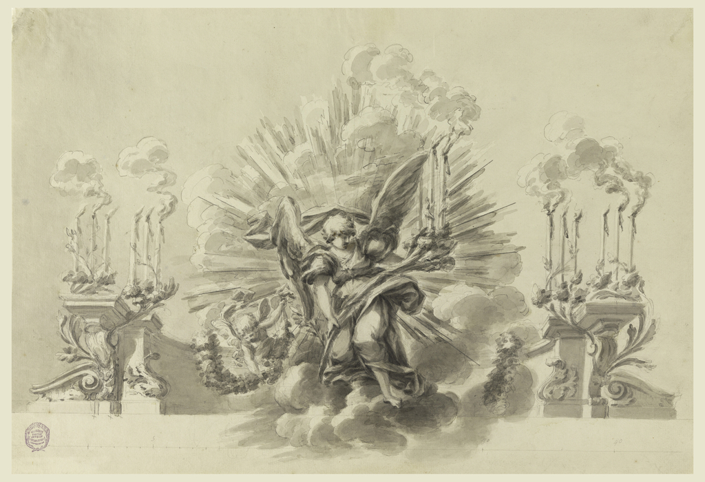 In the center a big angel in clouds is supporting a branch, ending as a candlestick with three burning candles. Beside him, a small flying angel with a garland. A curved attic serves as architectural motif. Around its termination in the front are two branches on every side, each supporting the burning candles. Below a scale.