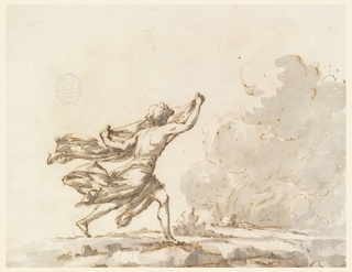 A young man wearing a billowing cloth across his hips and holding a second between his hands, runs towards clouds of smoke on the right of the frame. His legs are depicted in profile while his upper body is shown from the rear.