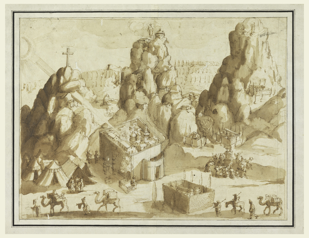 Drawing, Fantastic Landscape with Scenes from the Old and New Testaments
