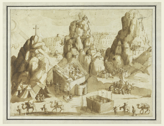 Overhead aerial view of a fantastic landscape distinguished by three rocky mountains, the leftmost mountain topped with a large crucifix. Groups of figures camping in tents, traveling with camels, and surrounding sculptures. Views of various architectural buildings including tiny walled cities and domed structures. Each of these groups illustrating episodes from the Bible's Old and New Testaments, including Mount Sinai, Nazareth, Behtlehem, Jerusalem, etc. At upper left, partial view of sun with rays extending across the sky. In the background, a wooded forest. Framing lines in pen and ink.