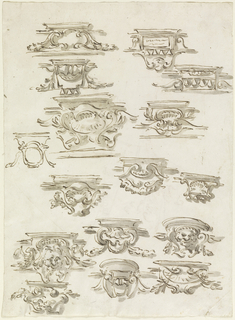 Vertical rectangle with sixteen designs for consoles. All but one of the sketches with wash. The consoles are protruding from a frieze. Two are with masks, most with escutcheons, one with a tablet, three with motifs of architectural ornament. Verso: A tree, and in front of it the upper part of a column standing obliquely above a base, with a plummet hanging from its top. Above, a sketch probably showing how to measure the angle of the oblique angle and in graphite, an upright oblong drawn into the oblique column.