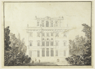 Horizontal rectangle. Three-story building with what seems to be a loggia on the top. Some groups of figures throughout grounds. Trees at left and right. Above at right, a sketch for the profile of the outer sides of the loggia.