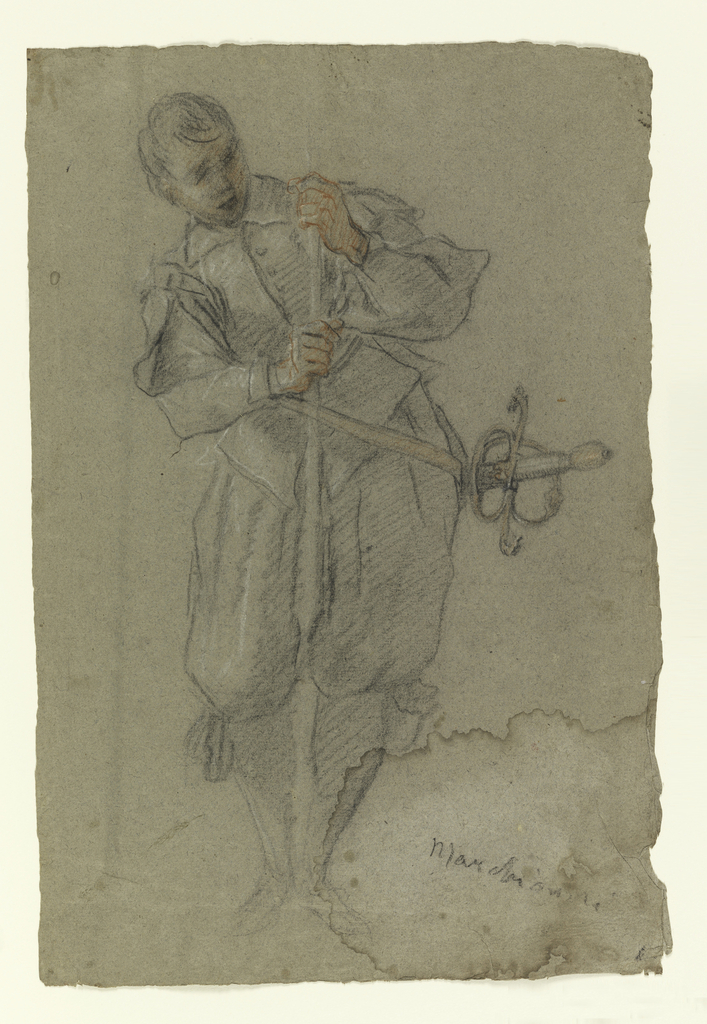 Vertical rectangle. A boy in soldier's clothing with gun standing between his legs, sword at hip.