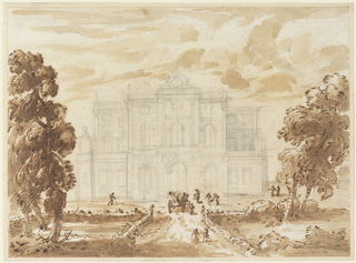 Horizontal rectangle. In the foreground in pen and ink a road with a carriage and figures, riding in carriage or on horseback and walking throughout grounds. Road leads to a three story building, drawn in graphite. Trees at right and left surrounded by garden hedges. The building, with a projecting central section and two side wings, is decorated with pilasters and windows with arches or triangular pediments. A large rondel with decorative framing elements is on the roof.
