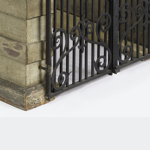 Model in the form of two walls surmounted by urns and punctuated with iron-decorated windows, and rusticated pilasters;  connected, as if for an entry allee by a wrought iron gate (of possible later date), the metalwork surrounded by quoined rusticated pillars supporting urns with finials (one missing, one replaced)