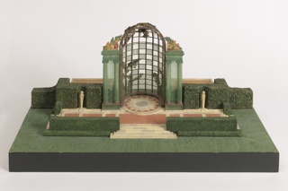 Model of garden with trellised gazebo, terrace, hedges, balustrades, etc.