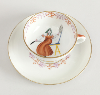 Woman Spinning Cup And Saucer