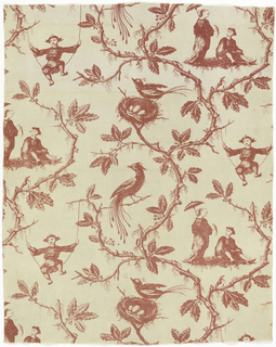 Repeat length of white cotton printed in red with a late-style Chinoiserie design showing Chinese-style figures amid tree branches and foliage. A male figure swings on a rope tied from tree branches while a standing female figure with a parasol and a bird in her hand stands looking down on a male seated figure.