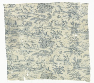 Straight repeat across entire width of fabric of hunting scenes in blue on a white ground. Printed area covers selvage on left side.