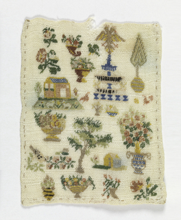 Small sampler with assorted motifs.