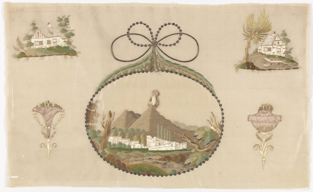 Central cartouche with Mount Vesuvius and Pompei surrounded by rural scenes and trophies.  This embroidery was from the pattern book of Johann Friedrich Netto, Zeichen-Mahler und Stickerbuch, Zweiter Theil, Leipzig 1798.