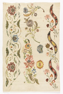 Bands of elaborate floral borders in polychrome silks and metal threads.