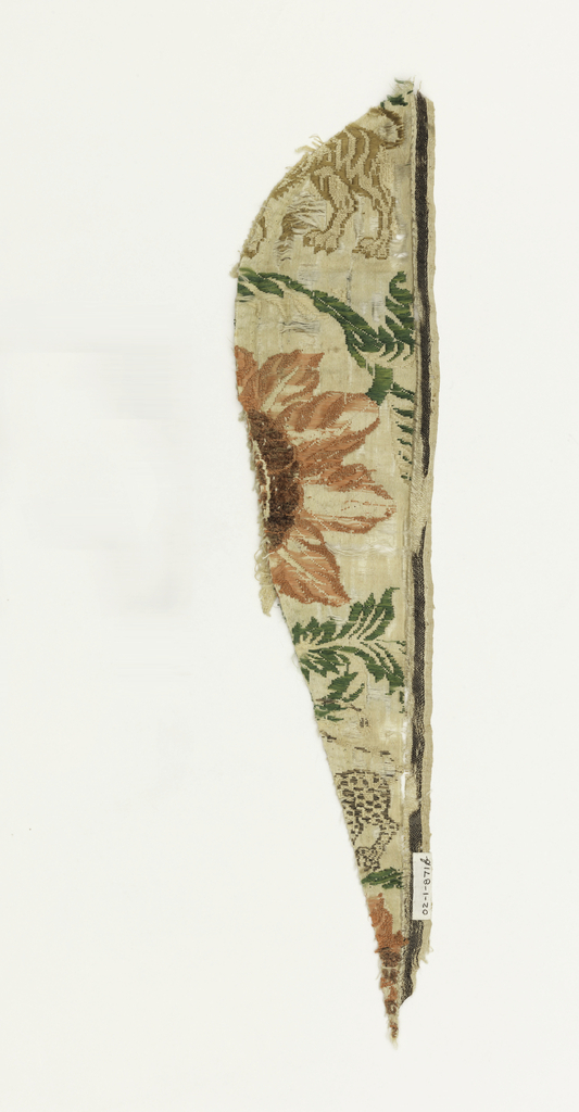 Very large flowers with small birds and animals. both selvages present. Some wefts are chenille.