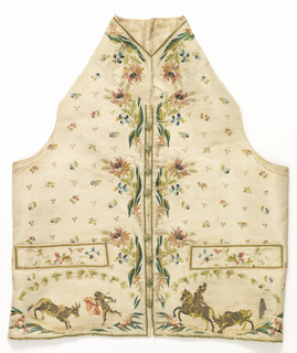 Man's waistcoat with straight hem, standing collar and welt pockets. White ribbed silk embroidered with multicolored silk, silver thread and sequins. Ground of scattered minute floral sprays. Border design of large flower sprays. Bullfighting scene under each pocket. Buttons from a later period. Many missing sequins show the original design as drawn on the foundation fabric.