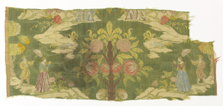 Fragment of brocaded silk with a symmetrical  scene of a man holding an parasol over a woman, flanking a tree with large fruits. In pale green, blue, orange, pink and off-white on a green ground.