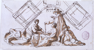 A group of two women sitting and a man standing are engaged in conversation. He is attired in according to seventeenth century Dutch fashion. Another man, seated at right, is clothed like a Dutch peasant. At left, is a bird's eye view of a structure in wheel form; a sketch of a part of its plan is above the figures.