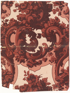 Rococo Revival style. Full width giving less than one repeat of a design composed of rocaille framework enriched with foliage and flowers. Pink ground has an unusual mottled effect achieved in the printing. Printed in reds on pink ground.