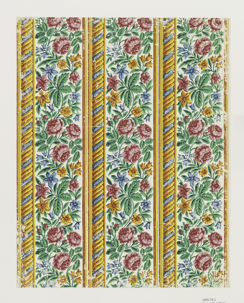 Three borders printed side by side on the length of paper. A frieze of roses and other flowers, printed in red, yellow, blue and green on a white ground. Above, a border of rope with one blue and four yellow strands.