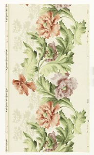 "Wide frieze: continuous horizontal serpentine band of pink and lavender peonie-like flowers and green foliage. Printed in selvedge: ""Wm. Campbell Wall Paper Co. Antiseptic pat'd 8-9-04"""