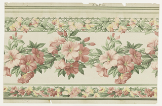 "On textured paper, white ground. Two narrow horizontal bordering bands: at top, the band made up of pink and yellow sweet peas on green trellis, at bottom, of mixed pink flowers. Central wide horizontal band of pink clematis. Over-printed with white dots, giving illusion of gauze. Printed in margin: ""Y.W.P. Co."""