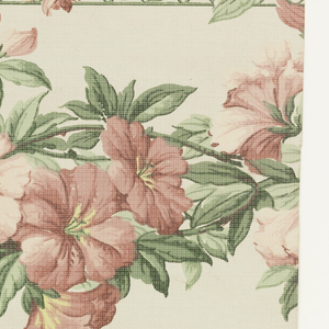 """On textured paper, white ground. Two narrow horizontal bordering bands: at top, the band made up of pink and yellow sweet peas on green trellis, at bottom, of mixed pink flowers. Central wide horizontal band of pink clematis. Over-printed with white dots, giving illusion of gauze. Printed in margin: """"Y.W.P. Co."""""""