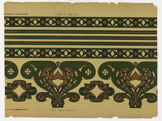 "a) Wide border and two narrow borders with three very narrow bandings printed on one sheet. On cream ingrain paper, bold curving motifs in dark green and brown, outlined in black; b) Six narrow borders and three very narrow bands duplicating those in ""a"". ""c"" duplicates ""b""."