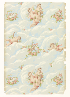 a) On blue-gray ground, cherubs and flowers amid white and beige clouds with pink roses and green foliage; b) duplicated on blue ground with light blue and white clouds.