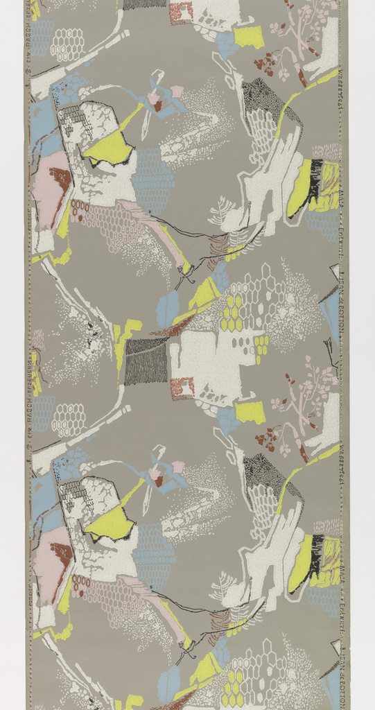 Abstract design, includes patches of color, with honeycomb pattern and floral sprigs. Printed in yellow, blue, pink, white and black on gray ground.