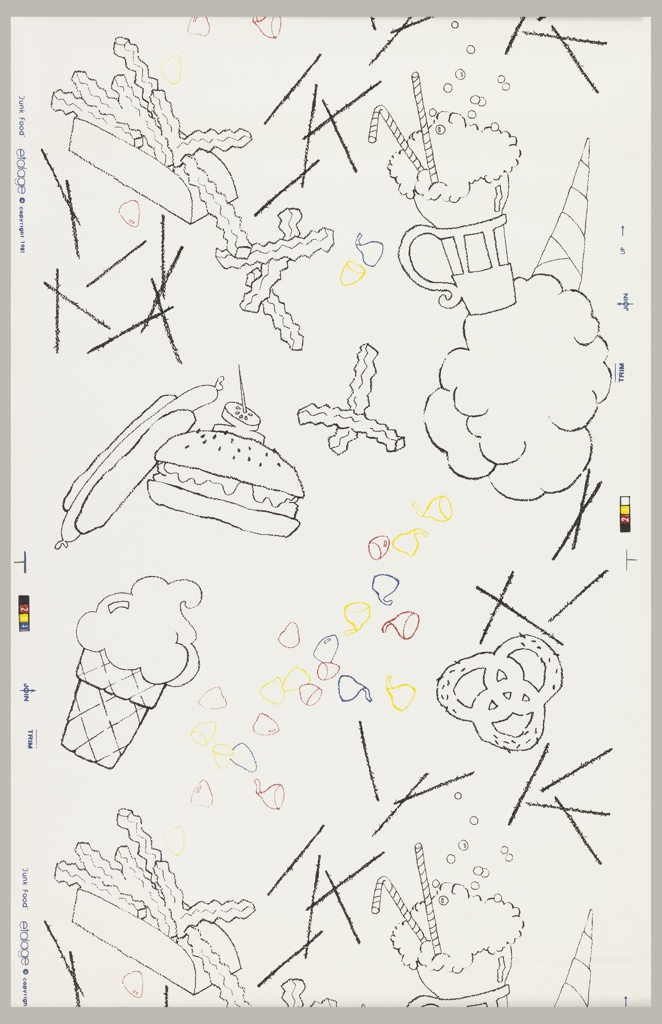 "Depictions of ""junk food"": including hamburger, hot dogs, milk shakes, pretzels, etc. in black outline, with chocolate ""Kisses"" in red, blue and yellow outline. Printed on white ground. Children's or teens wallpaper."
