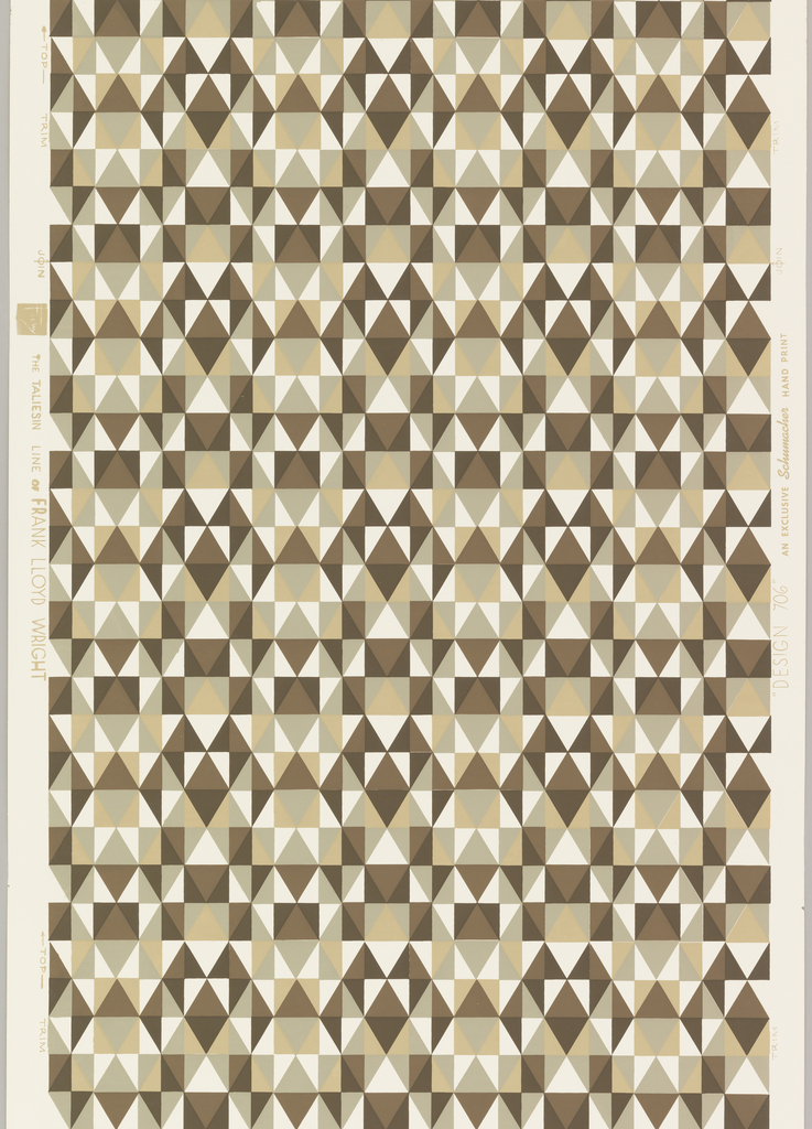 """Frank Lloyd Wright design from """"The Taliesin Line"""". Rows of small triangles forming grid-like design. Printed in brown, tan and taupe on white ground."""