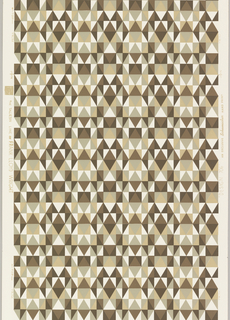 "Frank Lloyd Wright design from ""The Taliesin Line"". Rows of small triangles forming grid-like design. Printed in brown, tan and taupe on white ground."