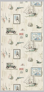 Children's paper with ecrue and grey wood facade ground with gold highlights. Trompe l'oeil objects of fishing lures, stamps, early models of cars, watches and boats, and a framed portrait of a horse. Printed in green, pink, blue and shades of grey.