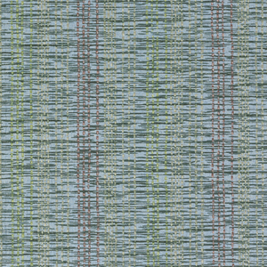 Imitation weave of fine vertical stripes of rose, beige, shades of green, black, and white on blue background.