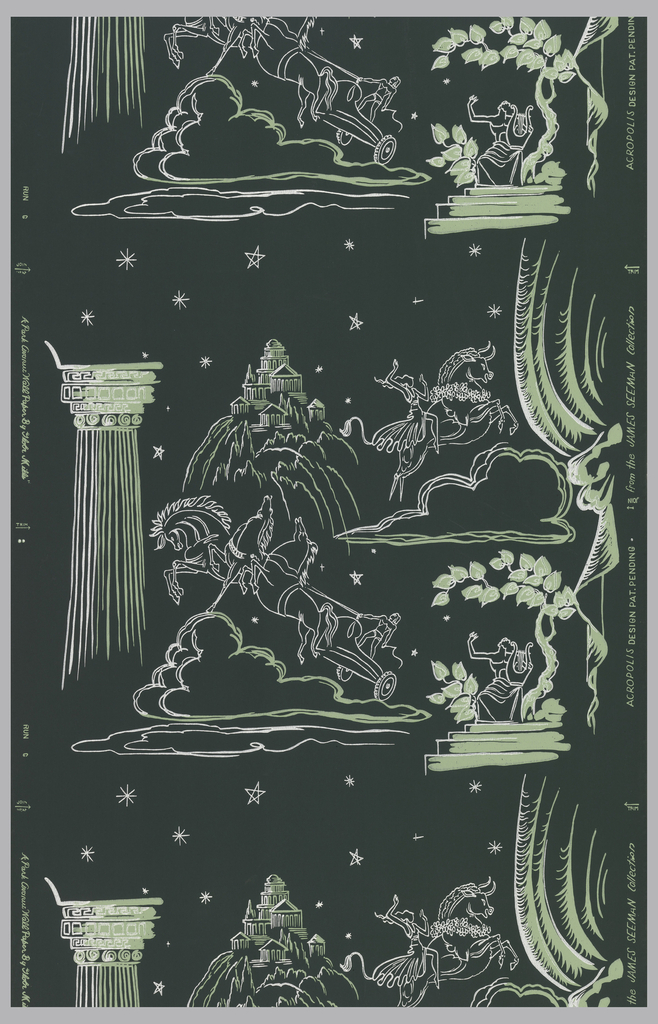 Galloping horses with hero in chariot, cloud formations, stars, goddess with lyre, and group of temples in green and white on a dark green ground.