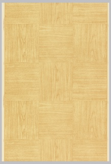 Woodgrain in design in basket weave pattern, imitating a parquet floor. Printed in shades of brown on an eggshell ground.
